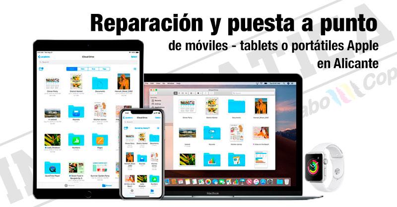 Reparación y puesta a punto de móviles, tablets o portátiles apple
